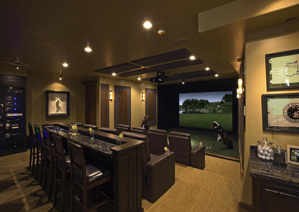 Golf Simulator in Theater Style Room